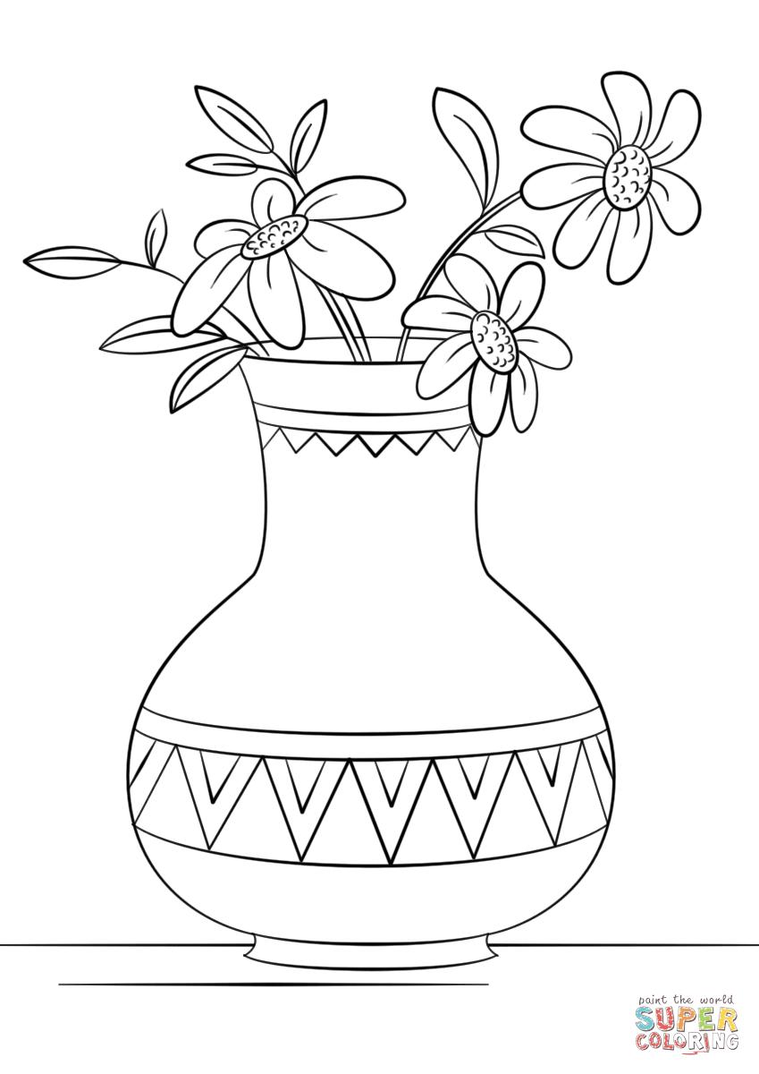 Unique Vase Coloring Page Pictures