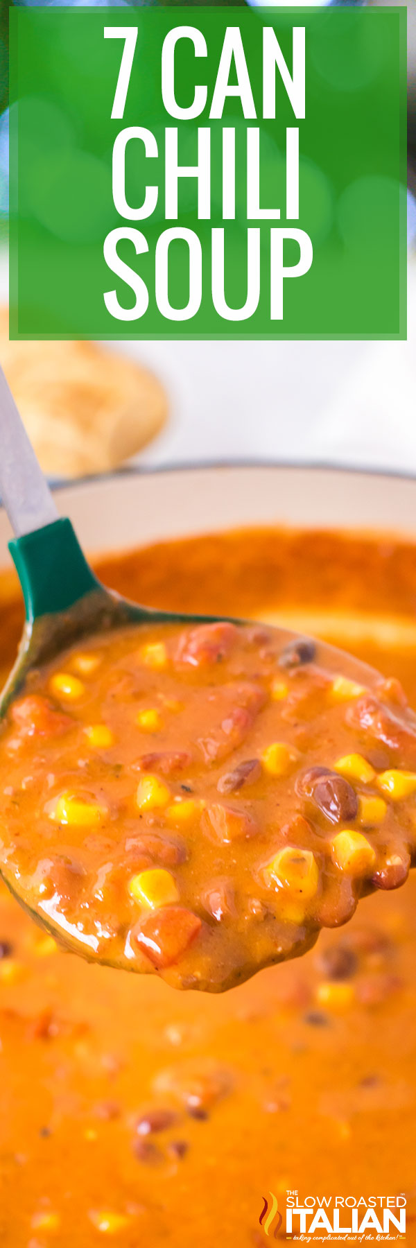 close up of a ladle of soup