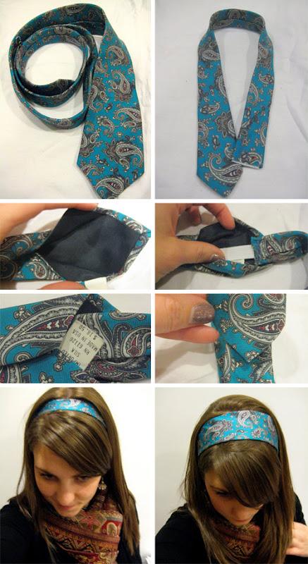 DIY - tiara feita com gravata
