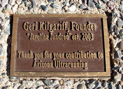There are several commemorative benches in the park. This one honors Geri Kilgariff, the ultra runner who founded the Javelina Jundred foot race, which is held in November when the weather is reasonably cool.