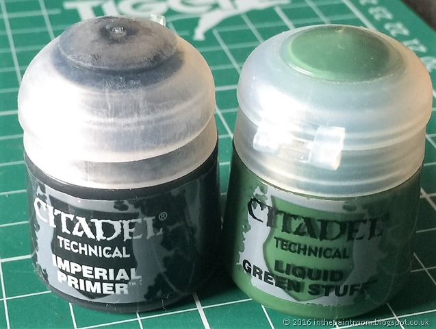 Citadel Imperial Primer and Liquid Green Stuff