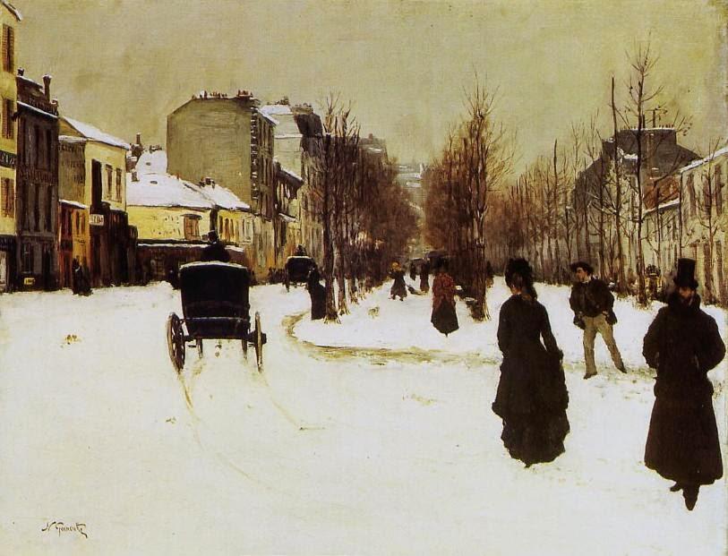 Norbert Goeneutte - Le Boulevard de Clichy par temps de neige