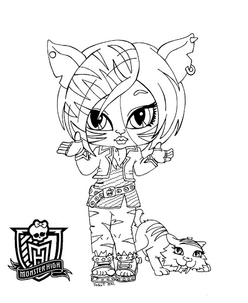 Monster Toralei Stripe With Pets Coloring Pages