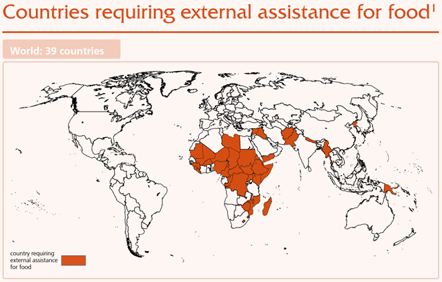 Countries requiring external assistance for food in 2016. Graphic: FAO