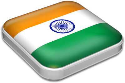 Flag of India with metallic square frame