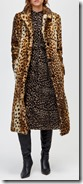 Warehouse long leopard print faux fur coat