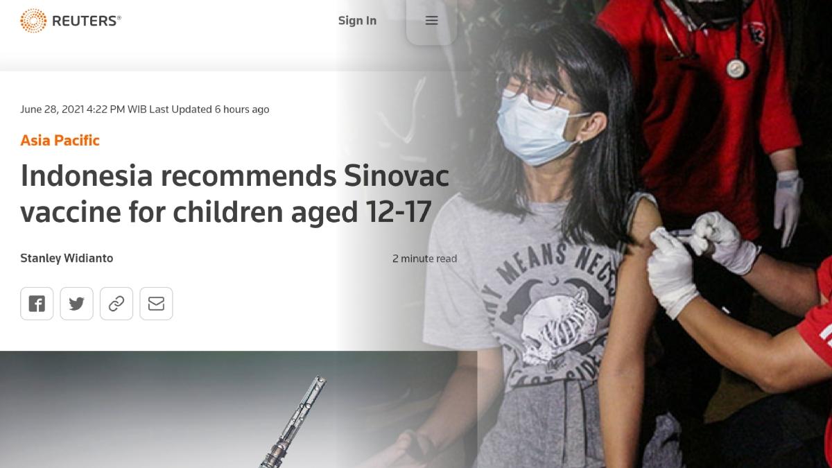 Media Asing Soroti Pemberian Vaksin Sinovac untuk Anak Umur 12-17 Tahun di Indonesia