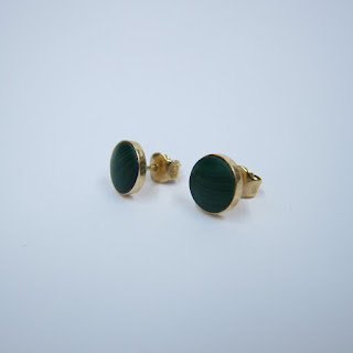 14K Gold and Malachite Earrings