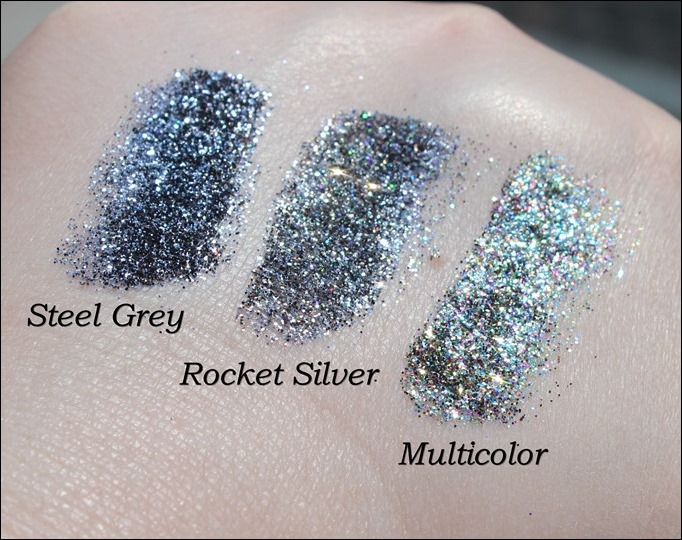 StarGazer Glitter Shaker Swatches Steel Grey Rocket Silver Multi Color 2