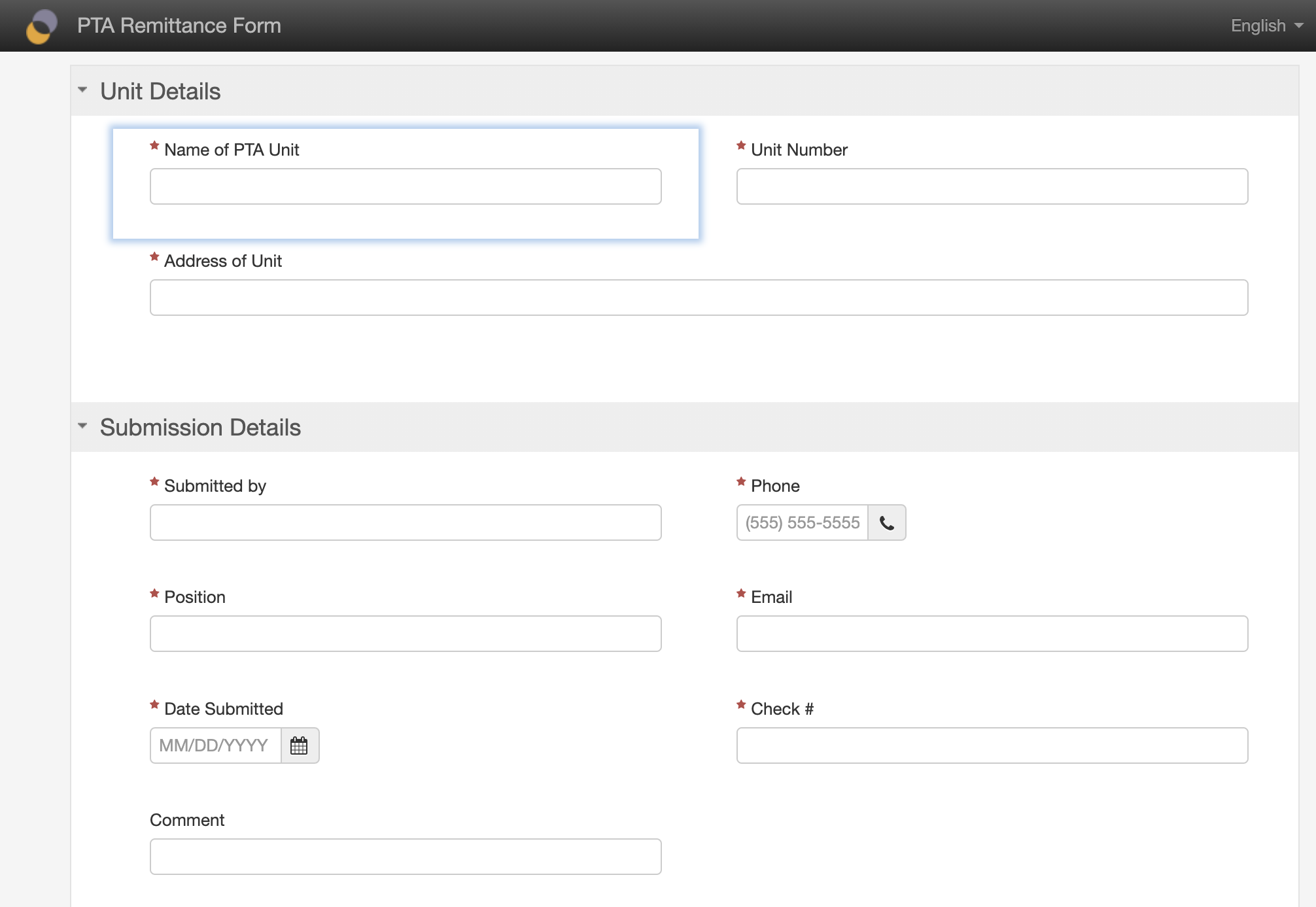 Example of form in Form Builder