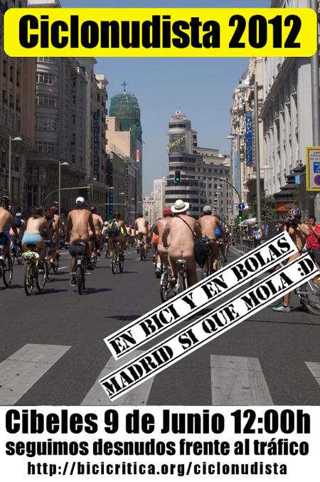 9ª Marcha Ciclonudista de Madrid. Seguimos Desnud@s ante el tráfico