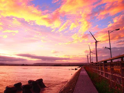 高美濕地日出彩霞與風車