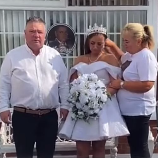 Grieving bride-to-be wears her wedding dress to fiance's funeral after he was killed in accident hours before wedding