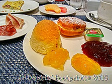 Breakfast Plate of bread, 3 types of jam and butter