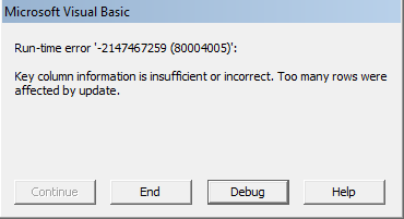 Mengatasi Errror Key column information is insufficient VB6
