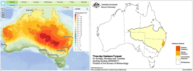Three-day heatwave forecast for Australia, 5 February 2017. Graphic: Bureau of Meteorology