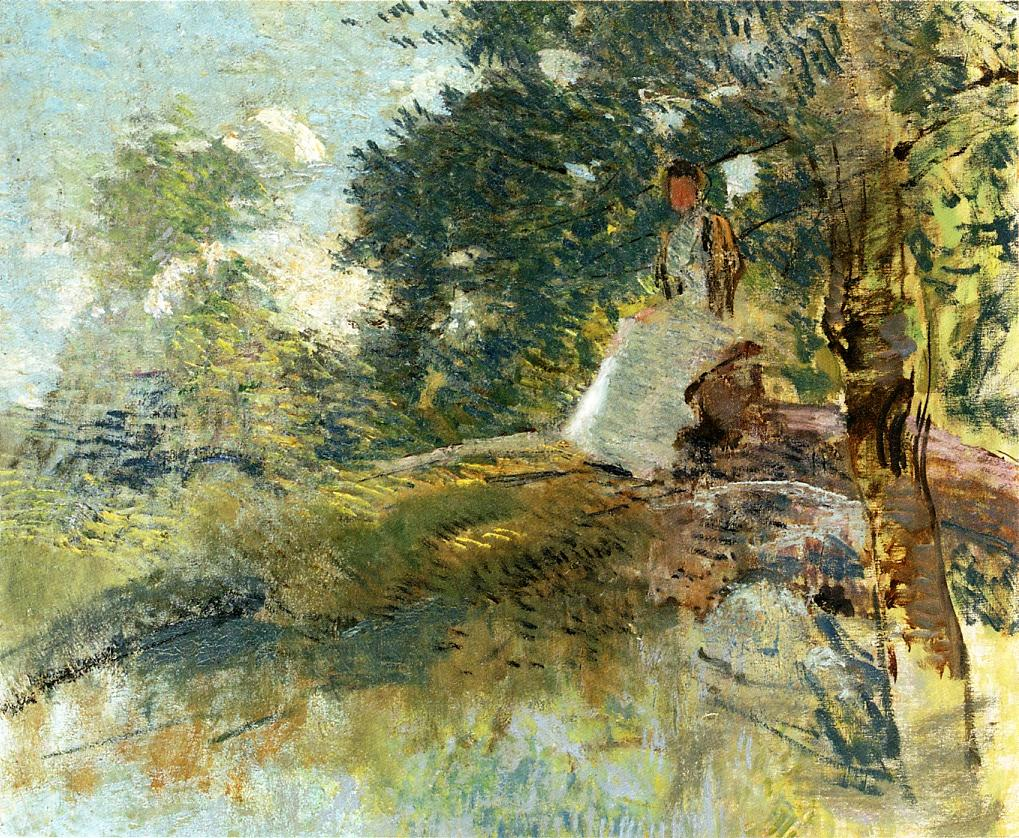 Julian Alden Weir - Landscape with Seated Figure