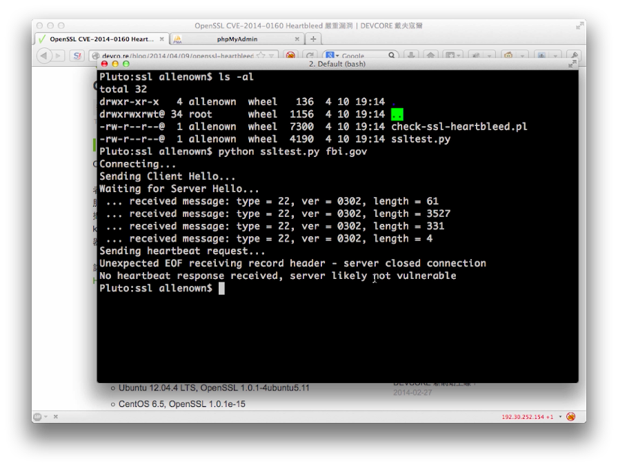 利用 ssltest.py 來測試伺服器是否有 Heartbleed 漏洞。