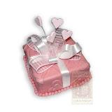 55. kép: Ünnepi torták - Rózsaszín szívecskés szalagos torta