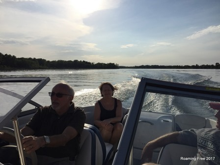 Taking the boat out for a spin around the lake