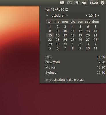 Ubuntu 12.10  i fusi orari all'applet data e ora