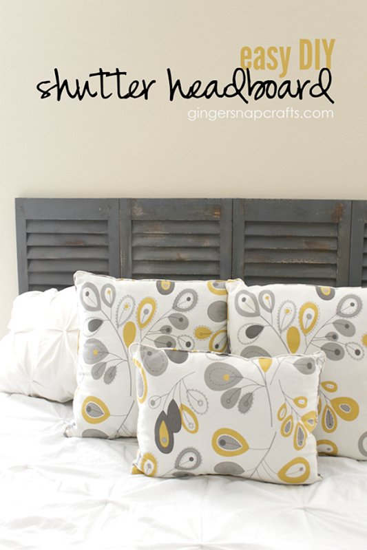 Easy DIY Shutter Headboard at GingerSnapCrafts.com #wermemorykeepers #DIY #tutorial_thumb