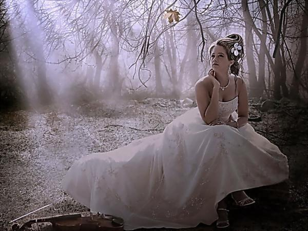 Girl In White Dress And Empty Forest, Magic Beauties 2