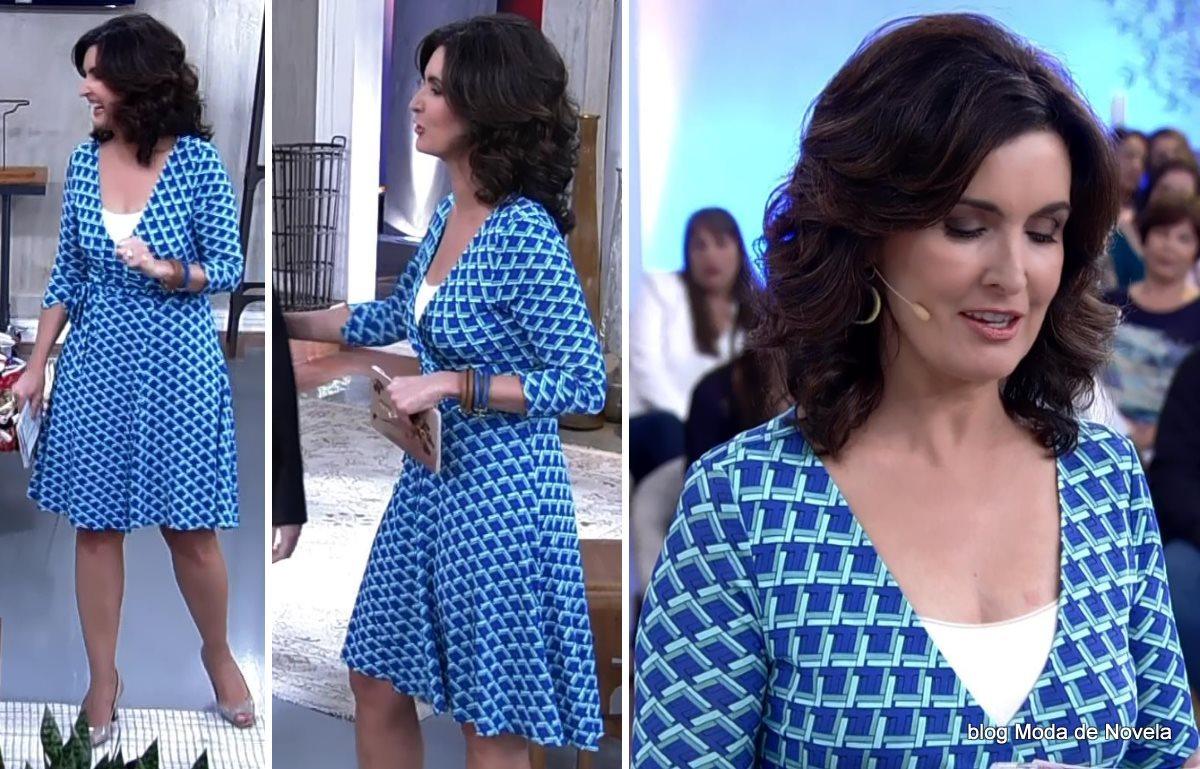 moda do programa Encontro - vestido da Fátima Bernardes dia 21 de julho