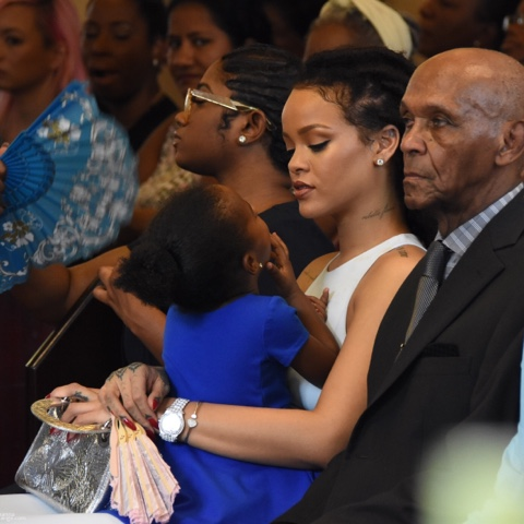Rihanna wears DSquared2, FENTY x PUMA at Christening