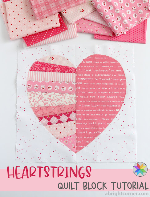 Heartstrings quilt block tutorial by A Bright Corner - scrappy quilt block - free heart quilt block - breast cancer quilt idea