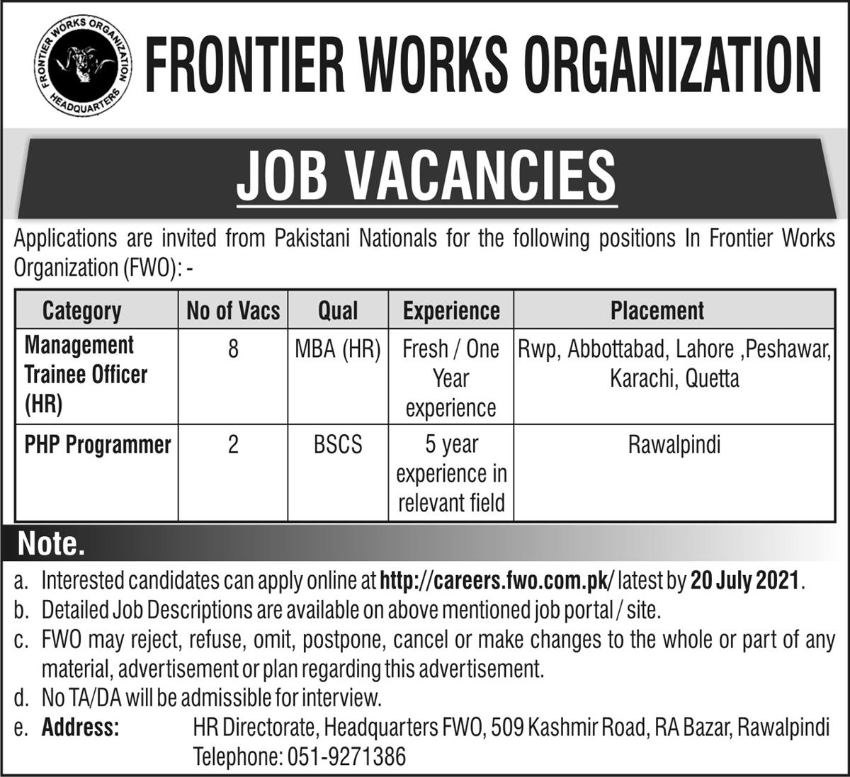 Frontier Works Organization (FWO) Jobs 2021