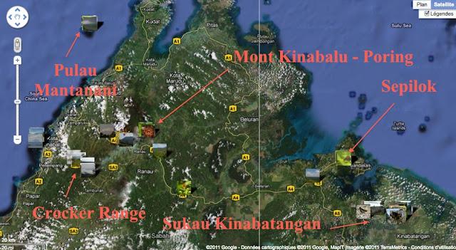 Localisation des photos au Sabah (Bornéo, Malaisie)