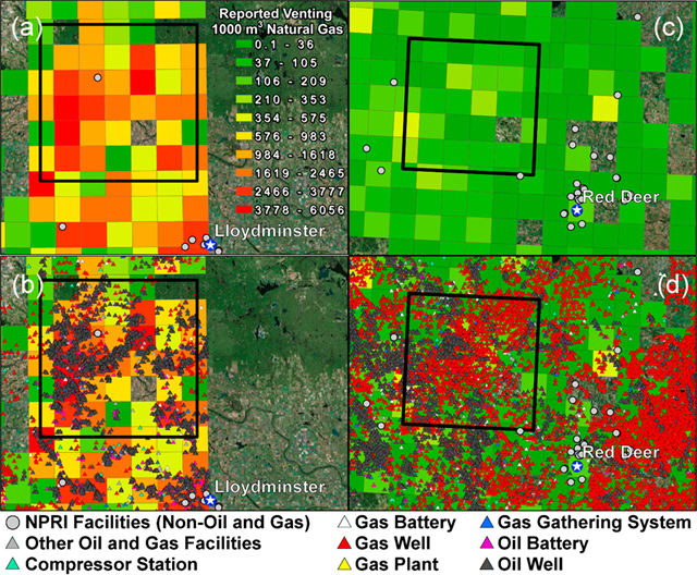 Methane measurement regions of interest near the cities of Lloydminster and Red Deer in Alberta. The background contour grid shows the local magnitudes of reported venting using the same color scale as Figure 2. Gray dots added in (a) and (c) show nearby nonoil and gas industry facilities appearing in the National Pollutant Release Inventory (NPRI). Colored triangles appearing in (b) and (d) indicate oil and gas wells, oil and gas batteries, gas plants, compressor stations, gas gathering systems and other associated upstream oil and gas facilities. Background satellite imagery source layer credits: Esri, DigitalGlobe, GeoEye, Earthstar Graphics, CNES/Airbus DS, USDA, USGS, AEX, Getmapping Aerogrid, IGN,IGP,swisstopo, and the GIS User Community. Graphic: Johnson, et al., 2017 / Environmental Science & Technology