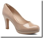 Clarks nude patent platform court shoe