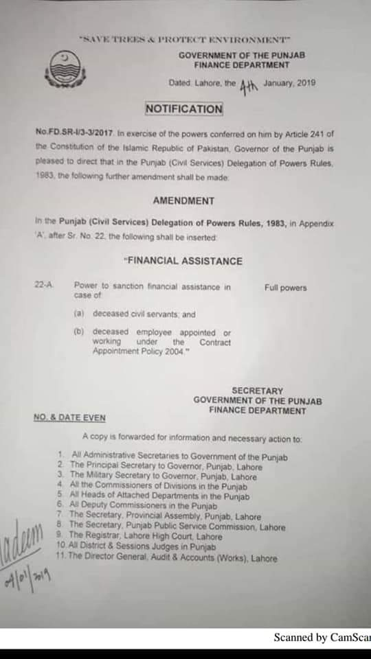 NOTIFICATION REGARDING FAMILY ASSISTANCE TO THE CONTRACT EMPLOYEES