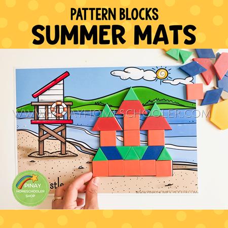 Summer Themed Pattern Blocks Puzzle Mats