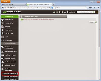 Tarea de reconocmiento recon en Pandora FMS para autodescubrimiento de agentes