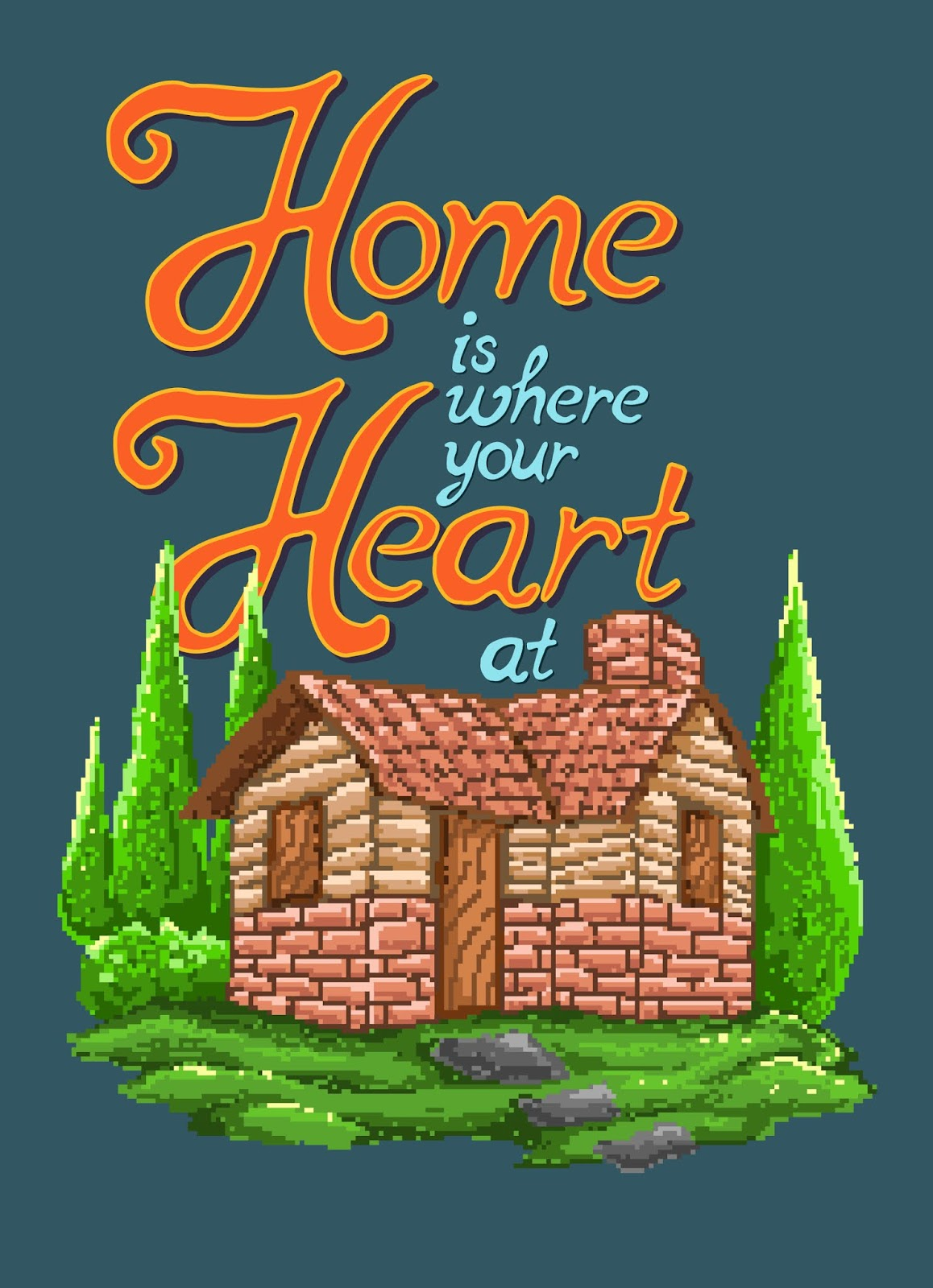 Pixel Art Vector Illustration House Village With Motivational Quote 90s Graphic Pixel Art Video Game Style Free Download Vector CDR, AI, EPS and PNG Formats
