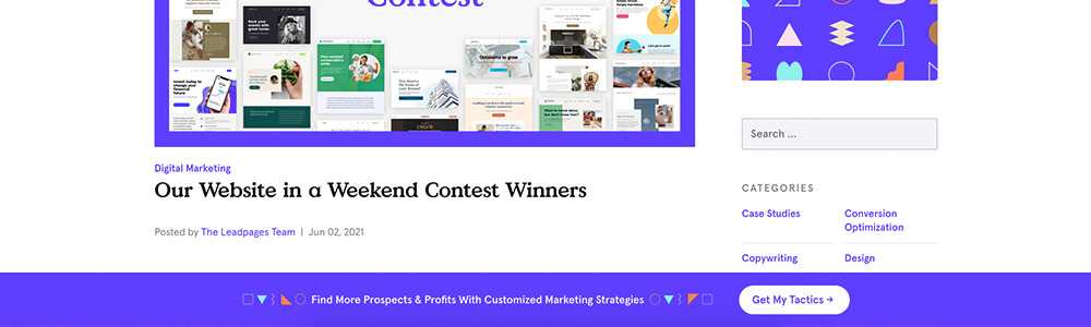 LeadPages content offer alert