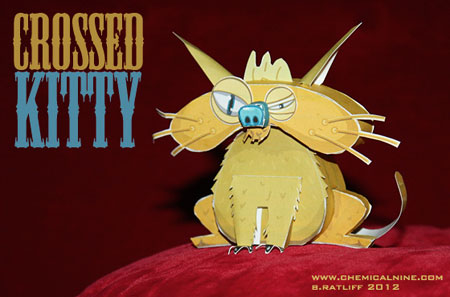 Crossed Kitty Paper Toy