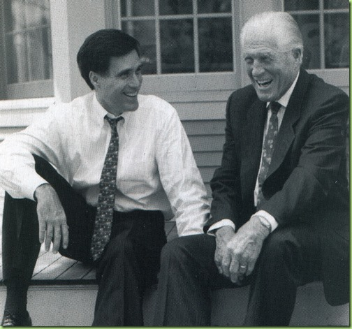 4.	Mitt Romney in 1994 with his former, former Michigan Gov. George Romney. Photos courtesy of Mitt Romney campaign