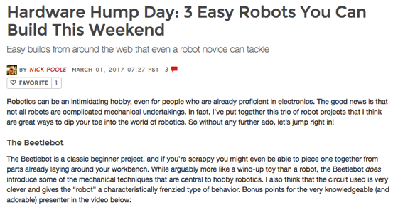 Noted: Hardware Hump Day: 3 Easy Robots You Can Build This Weekend