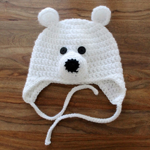 Not 2 late to craft: Barret de ganxet d'ós polar / Crochet polar bear hat