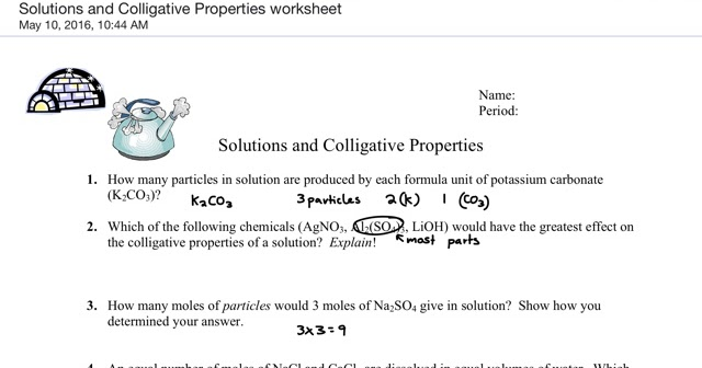 Gavin Gutowsky Chemistry Blog Solutions and Colligative – Colligative Properties Worksheet