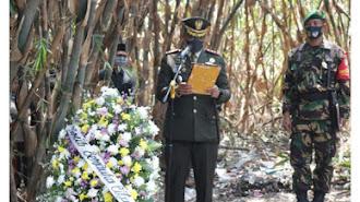 Dandim Pimpin Upacara Pemakaman Militer Alm Sertu E Kuswara, Babinsa Lemahabang