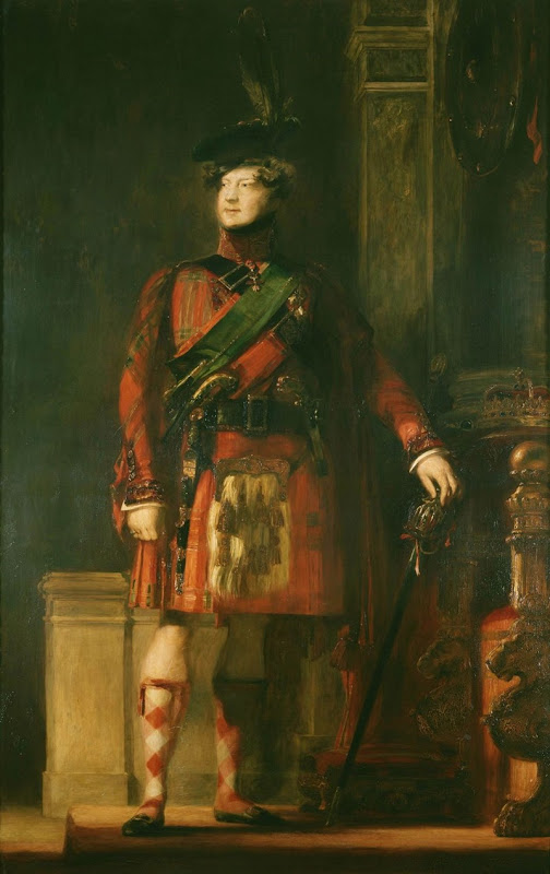 Sir David Wilkie's flattering portrait, painted in 1829, of King George IV in kilt during the visit to Scotland in 1822.