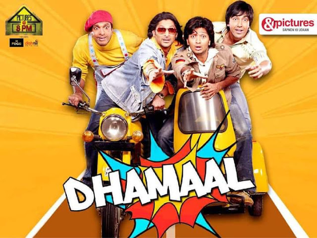 Dhamaal (2007) is an Indian Hindi language comedy film directed by Indra Kumar. The film is starred by Sanjay Dutt, Ritesh Deshmukh, Arshad Warsi, Ashish Chowdhury, Javed Jaffrey in the lead roles.The film is released on 7th September, 2007.