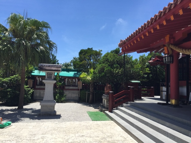 Palm trees surrounding the Naminoue Shrine in Naha, Okinawa, give it a tropical feel in an otherwise typical Japanese Shinto Shrine