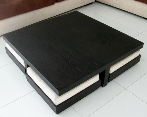 Short square wooden coffee table with 4 seats for Square coffee table with seating underneath