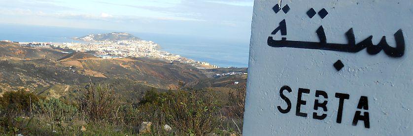 Kilometerstein 8 vor Ceuta, von den Marokkanern Sebta genannt